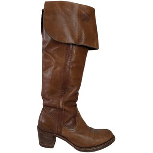 Warm Brown Knee Boots with Chunky Heel by Frye