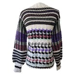 White and Black Knit Sweater with Multicolor Pastel Houndstooth