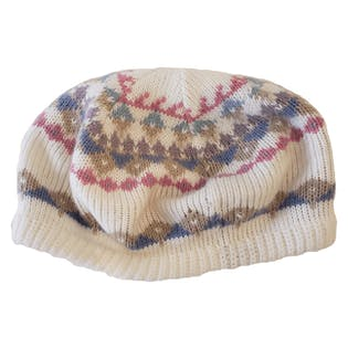 White Knit Beanie with Pastel Colored Print by Hansen