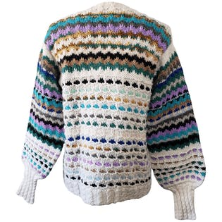 White Knit Sweater with Multicolor Accents