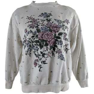 White Sweatshirt with Blue and Purple Floral and Small Polka Dot by Alfred Dunner