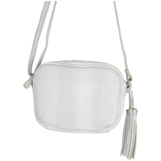 White Zig Zag Stitched Crossbody Bag