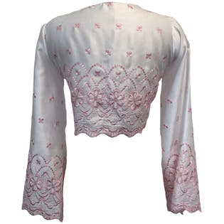 White and Pink Floral Embroidered Cropped Tie Front Bell Sleeve Blouse