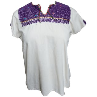 White and Purple Embroidered Tunic