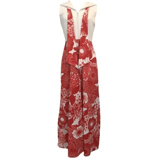 White and Red Floral Print Sailor Collar Palazzo Jumpsuit