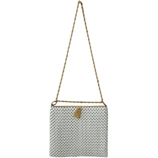 White and Gold Chain Bag by Mesh Whiting & David Co. Bags