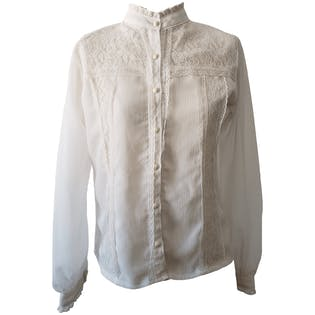 White Crepe Button Up Blouse with Lace