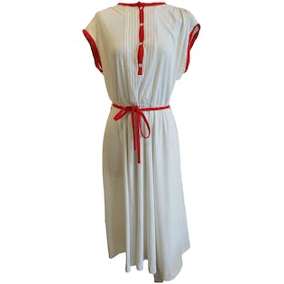 White Dress with Red Hems by Sunshine Alley