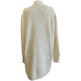 White Knitted Turtleneck Sweater Coat by Monto Par Le Chois