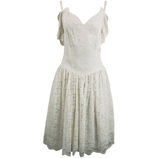 White Lace Cold Shoulder Dress by Gunne Sax