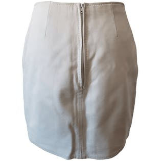 White Leather Mini Skirt by Firenze