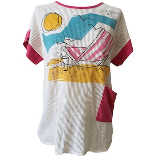 White Net Top with Beach Graphicby Breakaway