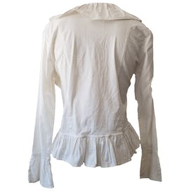 White Ruffled Jacket with Peplum