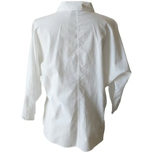 White Tailored Blouse with Collarby Notations