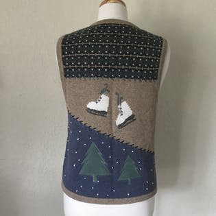 Winter Theme Hand Embroidered Knit Vest by Christopher & Banks