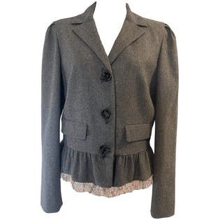 Wool Blazer with Floral Lace Trim by Red Valentino