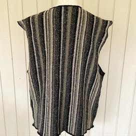 Gray Striped Wool Blend Sweater Vest
