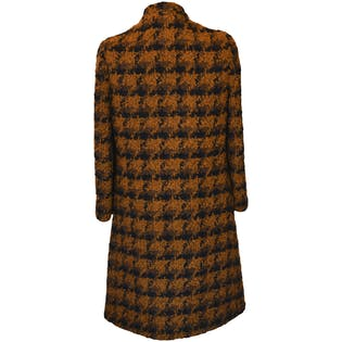 Wool Houndstooth Coat with Scarf