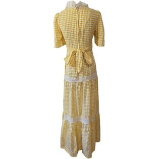 70's Yellow and White Check Maxi Prairie Dress with Lace Details