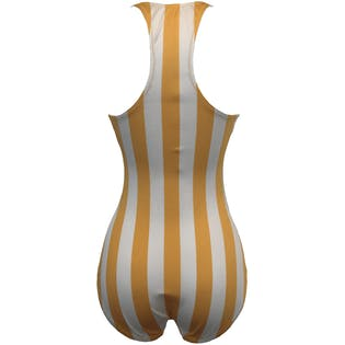 Yellow and White Striped One Piece Swimsuit