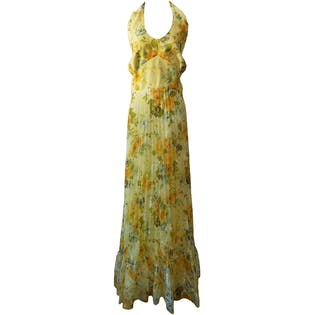 Yellow Floral Pleated Halter Dress