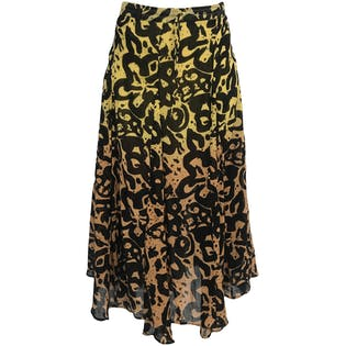 Yellow and Black Abstract Floral Print Maxi Skirt
