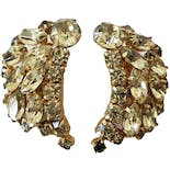 Yellow Gold Crystal Leaf Earrings