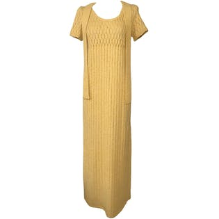 70's Handmade Yellow Knitted Maxi Straight Dress & Matching Belt