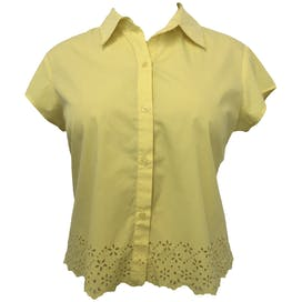 Yellow Short Sleeve Floral Laser Cut Scallop Hem Button Up by NY Jeans New York & Company