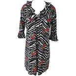 Zebra Mini Dress with Red Roses by Casa Lee