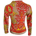 another view of Zip Collar Long Sleeve Brocade Knit Sweater
